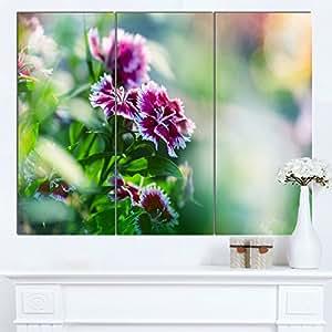 """Designart MT12455-271 粉红色花朵绿色背景 - 花卉光面金属墙壁艺术,121.92x71.12cm,绿色/粉色 Green/Pink 36x28"""" - 3 Panels MT12455-3P"""