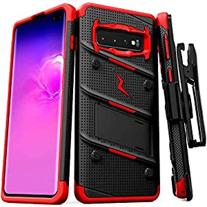 ZIZO Bolt 重型Galaxy S10 手机壳 | *级防摔带支架套装包括皮带夹皮套+专为 6.1 三星 S 10 设计的挂绳 黑色/红色