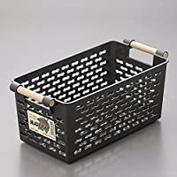 日本进口厨房冰箱【收纳篮】桌面收纳筐 塑料长方形收纳盒 【浴室收纳篮】 (黑色, 大号(30.6 * 14.9 * 13.1cm))