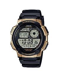 Casio Casio 男式 10 年电池石英不锈钢和树脂手表,颜色:黑色(型号:AE-1000W-1A3VCF)