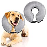 OBNZ 狗狗和猫咪充气项圈,可调柔软宠物项圈 灰色 L