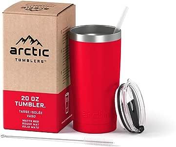 Arctic Tumblers 不锈钢野营旅行杯,带防溅盖和吸管,双层真空隔热,优质隔热隔热隔热 Matte Red Powder Coat 20 oz Tumbler