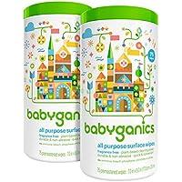 Babyganics 多用途湿巾 - 不含香料 - 75 ct - 2 只装