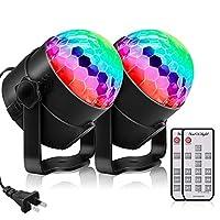 YouOKLight 声控派对灯带遥控 Dj 照明,RBG 迪斯科球灯,闪光灯,7 种模式舞台灯,适用于家庭舞会、派对、*吧、圣诞节婚礼展示俱乐部,2 件装