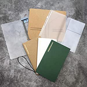 旅行日记笔记本可填充旅行日记护照尺寸 8.9 x 5.5 英寸 袋深 3.75 x 6.5 英寸 标准尺寸 4.25 x 8.25 英寸 Pocket Size 3.75x6.5 Inch Cover With Pages & Pocket Set