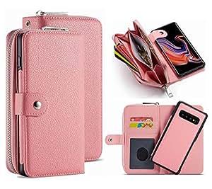 S9 钱包手机壳,HYSJY PU 皮革可拆卸磁性拉链钱包适合女士超薄防震盖壳卡槽零钱袋适合三星 GalaxyS9 galaxy S9 Zip -Pink