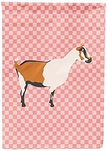 Caroline's Treasures BB7880CHF 阿尔卑斯山山羊粉色格子帆布旗,多色