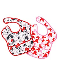 Bumkins Disney Baby Waterproof SuperBib 2 Pack, Minnie Mouse (Classic/Icon) (6-24 Months)