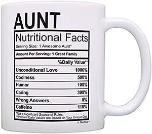 Aunt Nutritional Facts 标签礼品咖啡杯茶杯 白色 11 盎司 並行輸入品