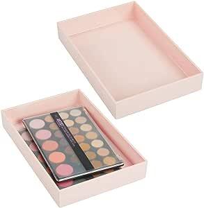 mDesign 抽屉,梳妆台,台面,30.48 cm x 20.32 cm 浅粉色 2片装 06057MDC