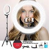 ZOMEi 环灯 40.64 厘米 LED 摄影填充灯带灯支架手机支架和球头自拍圆灯兼容化妆镜相机用于直播流、YoTube 视频拍摄