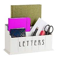 Hendson 木质邮件收纳盒 - 3 层书桌小盒农舍装饰 - 乡村邮件分类器 - 厨房台面支架适用于邮件、文件、笔篮,5 隔层
