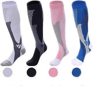 Wetopkim 女士和男士压缩袜(4 双)20-30 mmHg 适合运动、跑步、飞行旅行、骑行