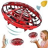 飞球迷你无人机遥控直升机手动控制红外感应飞行玩具,带 2 档速度自动避免障碍 360°旋转 LED 灯儿童玩具圣诞生日礼物 男孩女孩礼物 mini quadcopter drone 4.8 x 4.8 x 2.8 inches B-red