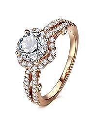 AllenCOCO 方晶锆石戒指 14K 玫瑰金镀金光环订婚结婚戒指 女士