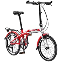 "Schwinn Adapt 3 9 Speed Folding Bike Gloss, Red/Silver, 16""/One Size/20"""