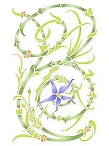 花板模板 - 可重复使用的花卉花卉花卉植物墙刻版印花模板 - 用于纸质项目剪贴簿子弹日志墙地板织物家具玻璃木等。 L