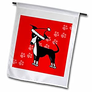 Janna Salak Designs 狗狗 - 可爱黑色意大利灵犬红色圣诞帽 - 旗帜 12 x 18 inch Garden Flag fl_25375_1