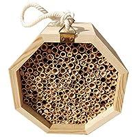 Jashem Bee 蜂巢天然竹管梅森蜜蜂屋手工制作小昆虫屋,花园虫酒店