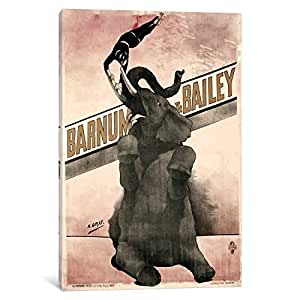 iCanvasART VAC1080 Elephant Gray Barnum and Bailey Canvas Print by Vintage Apple Collection, 18 by 12-Inch, 0.75-Inch Deep