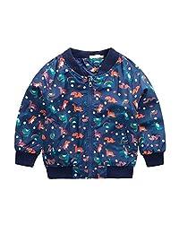 Tkria 男孩卡通恐龙印花拉链夹克外套长袖儿童雨衣