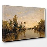 Arty Pie 画布印刷品 Charles Francois Daubigny Banken des Flusses his 多色 101 x 71 x 3 cm BBACANVASXXL16165
