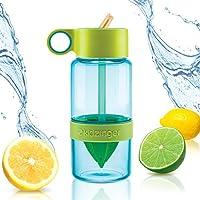 美国 Kid Zinger柠檬活力吸管榨汁杯 水果杯 蓝绿色 创意便携 Tritan安全材质 不含BPA