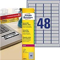 Avery Zweckform L6009 – 8 分類標簽(A4,384標簽,防風雨,耐撕,45.7 x 21.2毫米)8張,銀色