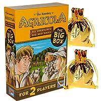 Agricola Game 所有大大小小的生物(大盒)2 個玩家單獨站立|| 額外贈送 2 個金色金屬布拉繩存儲袋 || 捆綁商品