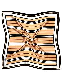 红色米色线印花厚实小丝绸方形围巾