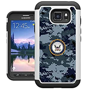 S7 Active 手机壳,Galaxy S7 Active 手机壳,UrSpeedtekLive [减震] 双层耐用硅胶塑料保护壳 适用于三星 Galaxy S7 Active A-Navy Camouflage