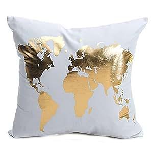 kingla 家庭新产品古铜色 flannelette 家庭枕套抱枕套 BOSS 地图头骨几何图案设计45.7cm