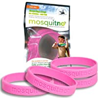 Mosquitno 5-Pack Natural Mosquito Repellent Wristbands 粉紅色 Kids