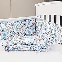 Sunstyle Home 婴儿床防撞垫 4 件套,柔软透气的超细纤维婴儿床内衬,适用于标准婴儿床,可机洗印花防撞垫,佩斯利涡旋纹