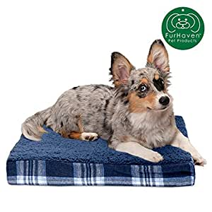 FurHaven Memory Top Mattress Pet Bed for Dogs and Cats, Available in over 33 Color & Fabric Styles 深蓝色 小号