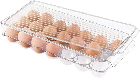 InterDesign Covered Egg Holder, 21 Eggs, Clear, Set of 1