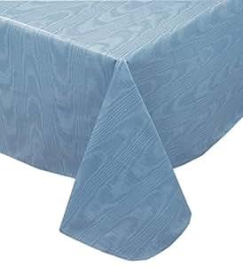"Newbridge Moire 波浪纯色印花厚重乙烯基法兰绒背桌布,室内/室外桌布 蓝色 52"" x 70"" Oblong unknown"