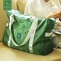 短途旅行包 可挂旅行箱 可折叠尼龙旅行袋 防水大容量 男女短途手提包 收纳旅游行李包 可套拉杆箱 (深绿)