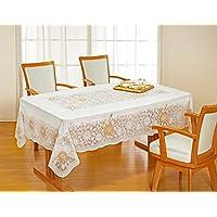 【可轻松擦拭抗污】花朵图案蕾丝风格桌布 橙色 150×225 SW-094