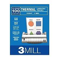 Samsill 100 包 3 毫米热层压袋,信纸尺寸层压板 22.86 厘米 x 29.21 厘米,透明