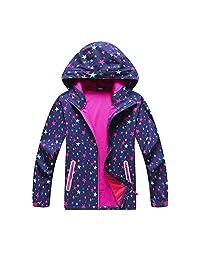 YILLEU 男孩女孩雨衣防水风衣连帽外套带羊毛轻便雨衣儿童雨衣