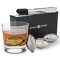 不锈钢威士忌石 - 4 块装 Whisky Chilling 石,适用于液体、Scotch 和烈* - 4 个饮料立方带夹钳、拉绳盒和豪华盒 - 可重复使用的饮料冷却杆