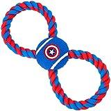 狗狗玩具绳网球美国队长盾牌蓝色红色绳