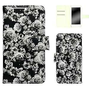 白色坚果玫瑰图案手机保护壳翻盖式 黑 4_ AQUOS PHONE EX SH-04E