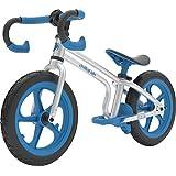 Chillafish Fixie 固定齿轮造型平衡自行车带集成脚垫、脚垫和无气橡胶皮轮胎,蓝色