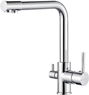 GRIFEMA GRIFERÍA DE COCINA-G4003 三合一厨房混合水龙头净水器,带饮用水过滤出水口,双杆水槽水龙头,3/8英寸软管,镀铬