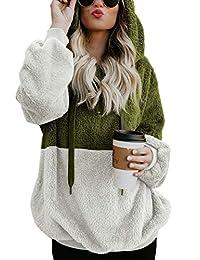 Aleumdr 女式超大保暖毛绒连帽衫舒适宽松 1/4 拉链套头连帽运动衫外套带口袋