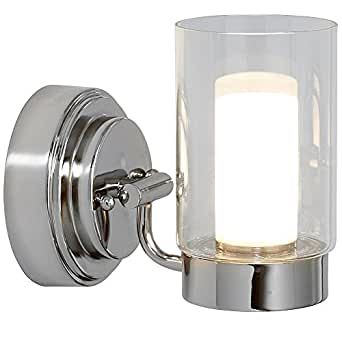 抛光镍蜡烛灯具   玻璃环绕 LED 照明灯具   梳妆台、卧室或浴室   室内照明 银色 Single Light HH1114-L
