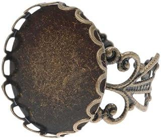 Beadaholique Antiqued Brass Round Bezel Filigree Ring, 20mm