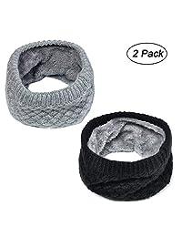 Lo Shokim Harsh 冬季双层软羊毛内衬厚针织护颈围巾防风